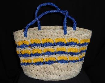 Shopping bag crochet natural, blue and yellow