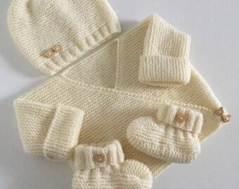 Top booties bonnet vanilla birth / 3 months