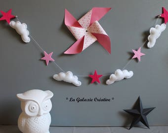 Garland pink stars and clouds