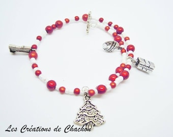 Memory bracelet adult Christmas red and white