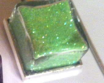 Cord necklace chain with a neon green glitter-filled glass square pendant