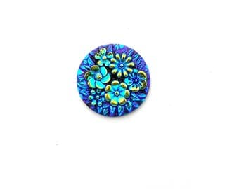 metallic blue cabochon flowers 20mm