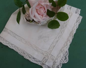Vintage white handkerchief with lace, antique wedding handkerchief, Monogram, embroidery, vintage lace and antique lace, doily