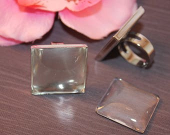 x 1 + 1 cabochon 25x25mm silver square ring base