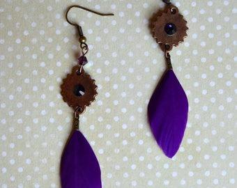 Dangling earrings - Steam Feather
