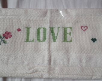 LOVE cream Guest Towel embroidered