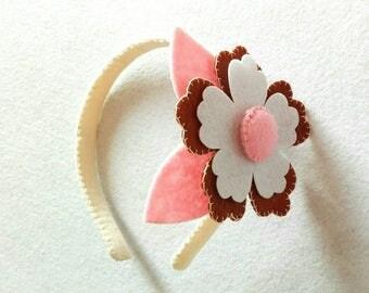 Headband for felt hair with flower. Felt Headband with Flower