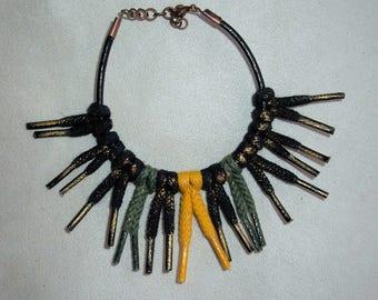 Ethnic bracelet Neba cotton laces on leather