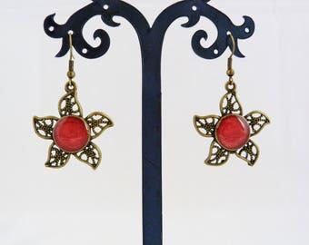 Earrings red / dark raspberry bronze color metal