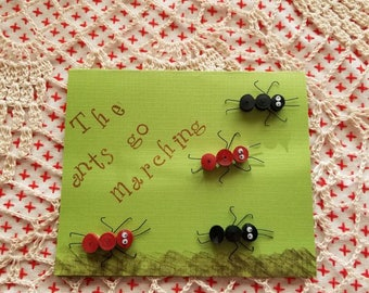 The ants go marching card.  Can be for a birthday or just about any occasion. Personalization on request