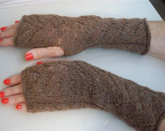 Iced in cashmere hand knitted Brown fingerless gloves