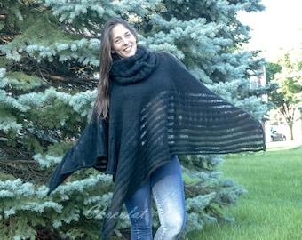 Wool Black Poncho