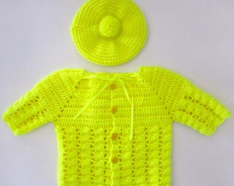 Yellow Cardigan with Matching Hat