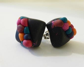 multicolored beads and black Stud Earrings