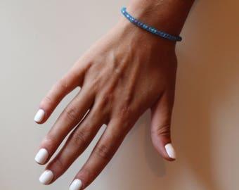 Blue and Pink Elastic Bracelet