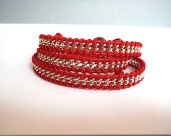 silver metal bracelet model chan luu Red