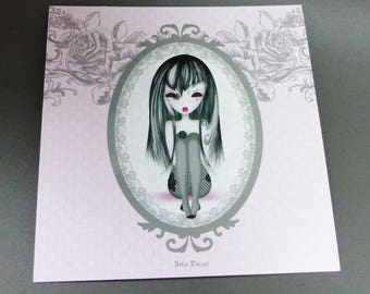 black and pink Goth girl card