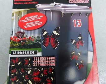 sticker to decorate your black and Red Butterfly trash and numbers for house number