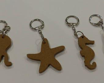 4 porte clé en bois à décorer sur le thème de la mer des animaux étoile de mer hippocampe manchot