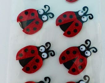 8 Ladybug with moving eyes stickers stickers