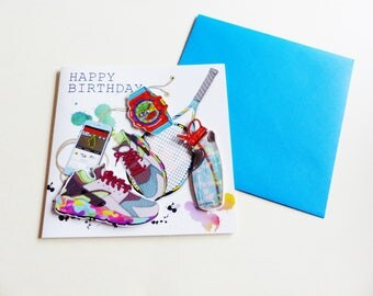 Super embossed birthday card 3D sport basketball smartphone tennis sport matching envelope