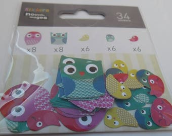 MINI STICKERS for shelf or CONSOLE * owls and birds * 2 cm and 1.2 cm EAN 3045677575717
