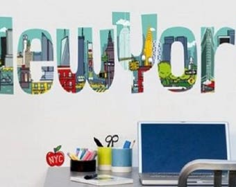 For the kids room wall decals letters multicolored NYC