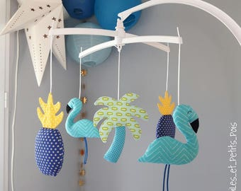 Mobile baby blue Flamingo, Palm tree and pineapple