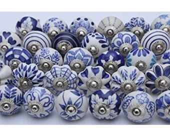 ON SALE Blue and White Ceramic Knobs/Knobs/Cabinet Knobs-/Dresser Knobs/Drawer Pulls/Knobs/Shabby Chic/Knob/Drawer Knobs/Nursery/Pulls