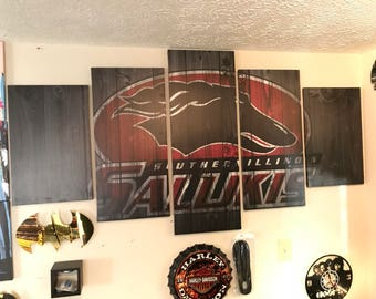 5 panel framed ready to hang canvas wall art Saluki SIUC Southern Illinois University carbondale