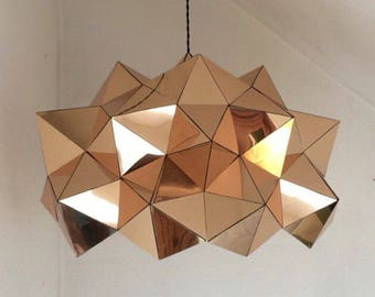 Gold Mirrored Geometric Dome Sculptural Light