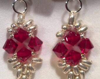 Red swarovski crystal on 925 Silver hook earrings