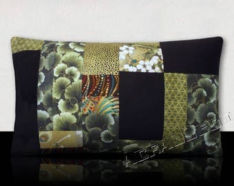 Set of 2 cushions symmetrical patchwork shades of green - lime crystals, ginkgo leaves, Lily and gold