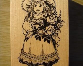 """Wooden stamp model """"girl model"""" for scrapbooking, embellishments or cardmaking"""