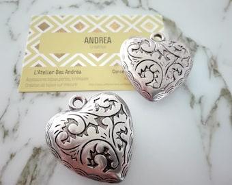 ☆Grand heart shape silver pendant / acrylic / 46 x 41 x 13mm☆