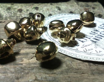 "Set of 10 pendants/charms ""bells"" golden metal, bells, beads gold, bracelets, jewelry creation"