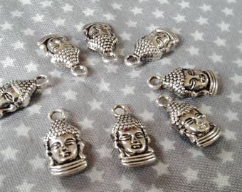 10 beautiful charm in antique silver brass double face. 16, 5 x 8 x 5 mm