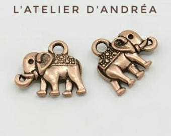 Elephant charms / Charms/copper red or silver / ethnic / 14 x 12 x 2.5 mm DB