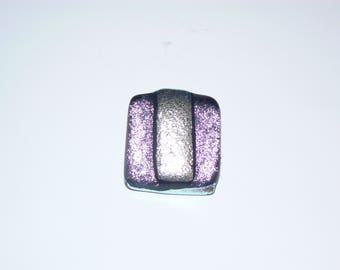 1 inch pink & silver dichroic pendant.