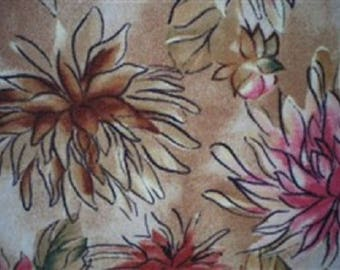 patchwork dahlias on a beige background fabric