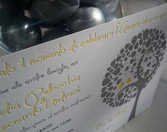 Letterpress Wedding Invitation, Amore, Italian, love birds, hand embellished tree, letterpress, wedding suite, deposit listing