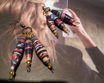 Studs with multicolored paper beads