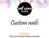 Custom nails for Harley Quinn character | 2 nail sets