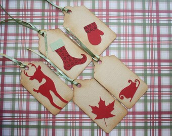 Set of 5 vintage theme Christmas Tags in kraft paper tags
