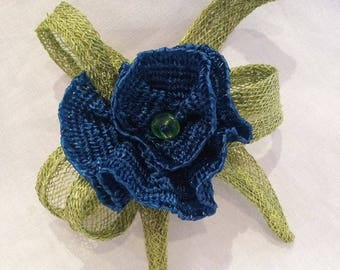 Blue and green sisal and vintage Ribbon brooch