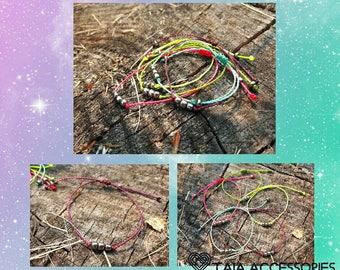 5 Friendship Macrame bracelets with small beads set