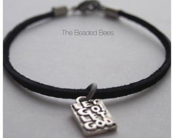 Let Go Let God Black cord charm bracelet