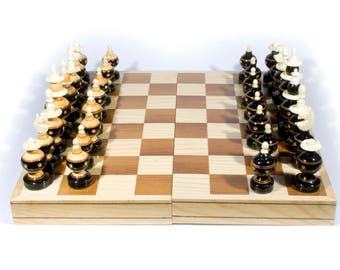 "Handmade Chess. Wooden with Bone. Model ""Bolita"". Foldable Board: 35 x 35 cm."