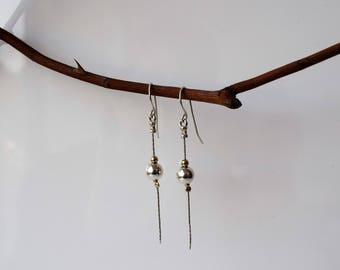 Drop Earrings,Dangle Ball Earrings,Silver&Gold Earrings,Long Dangle Earrings,Dangle and Drop Earrings,Modern ball Earrings,Wedding Earrings