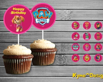 PawPatrolBirthday Cupcake Toppers, Birthday Printable Cupcake Toppers, Printable Cupcake Toppers, Party Cupcake Toppers